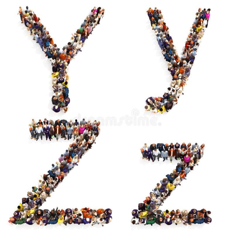 Raccolta di grande gruppo di persone che formano la lettera Y e Z in entrambi maiuscola e minuscola isolato su un fondo bianco royalty illustrazione gratis