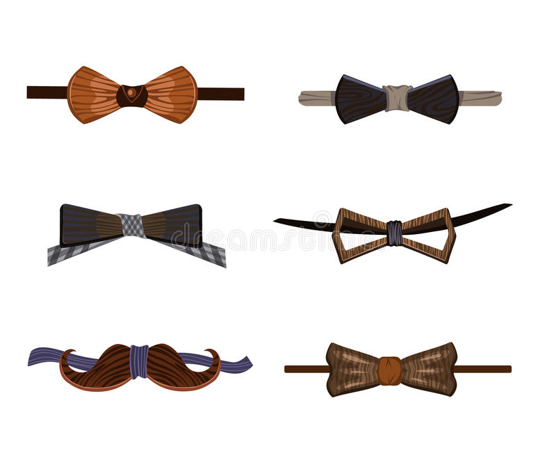 Raccolta di legno dei farfallini dei pantaloni a vita bassa d'avanguardia illustrazione vettoriale