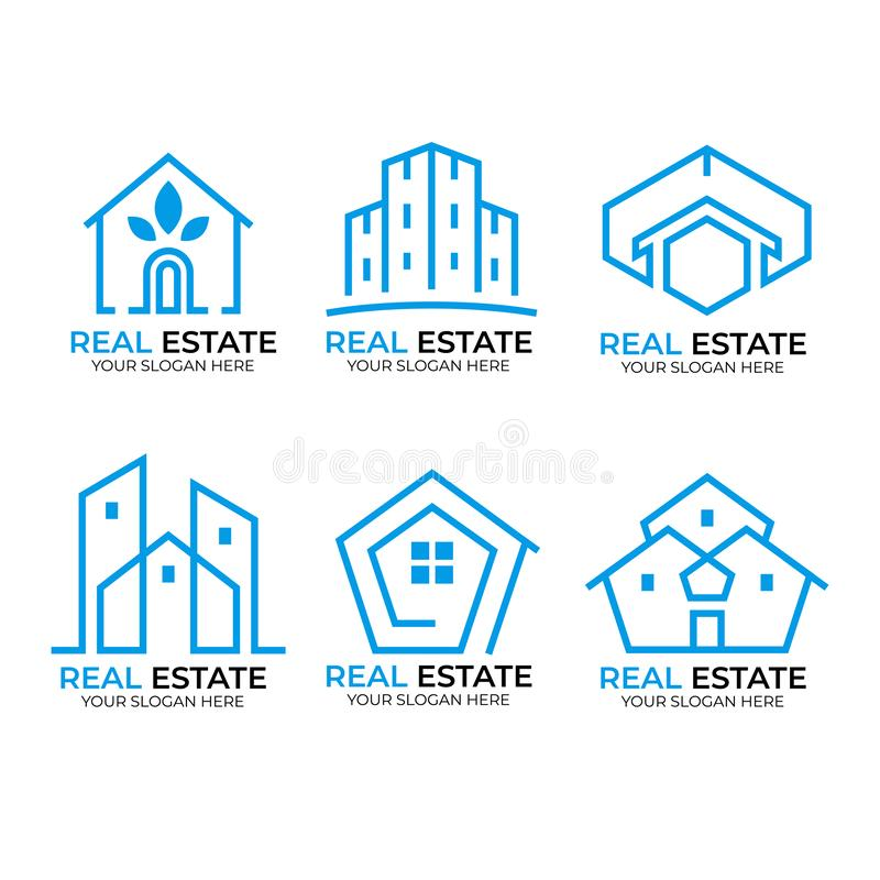 Raccolta di logo del bene immobile royalty illustrazione gratis