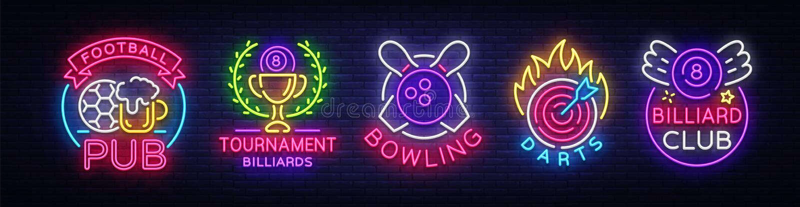 Raccolta di logo nello stile al neon Metta il pub di calcio delle insegne al neon, il biliardo, il bowling, dardi Vita notturna,  illustrazione di stock