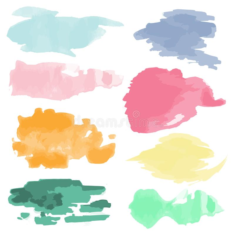 Raccolta di macchie di acquerelli multicolori, disegnate a mano Set di tratti di pennello a colori d'acqua in sfumature di pastel illustrazione di stock