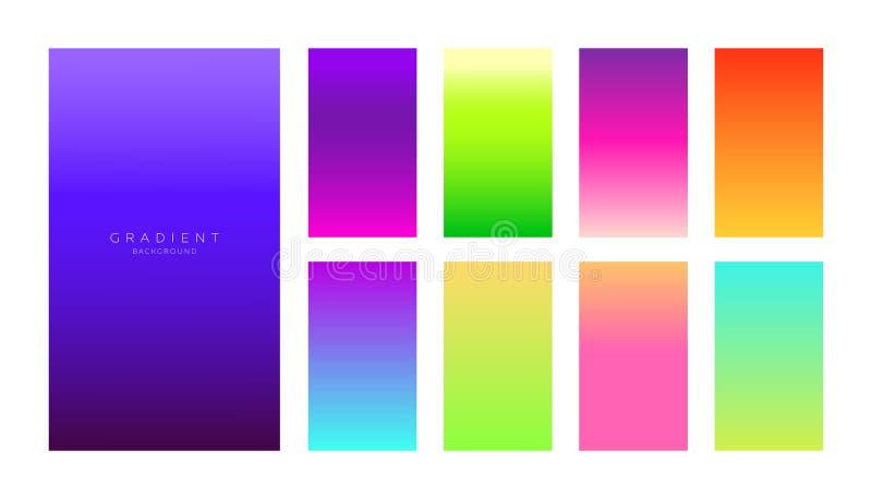Raccolta di pendenze Schermi di Smartphone con i colori vivi Ambiti di provenienza astratti impostati illustrazione di stock