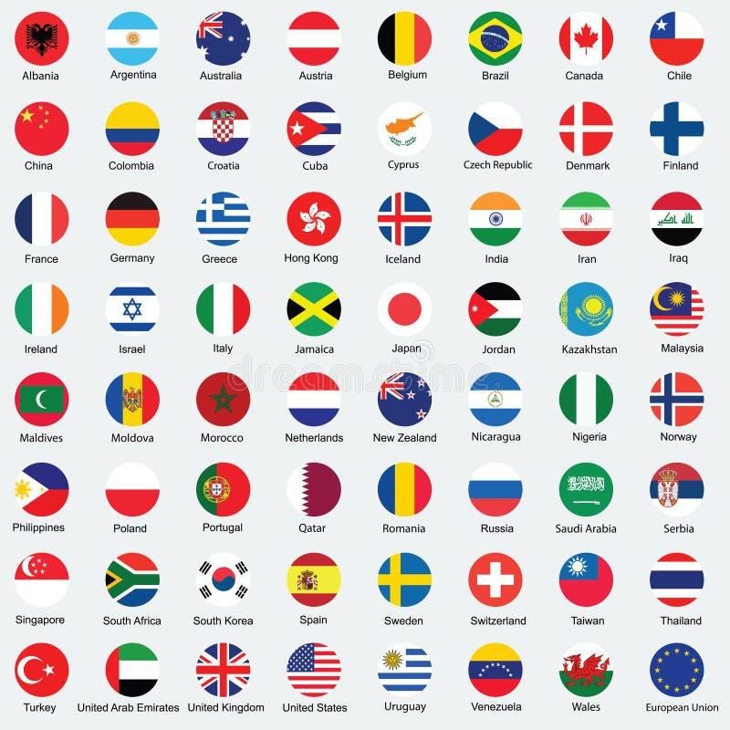 Raccolta di progettazione del bottone della bandiera illustrazione di stock