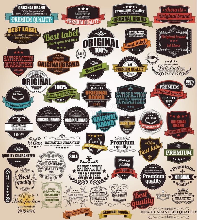 Raccolta di retro etichette d'annata, distintivi, bolli, nastri illustrazione di stock