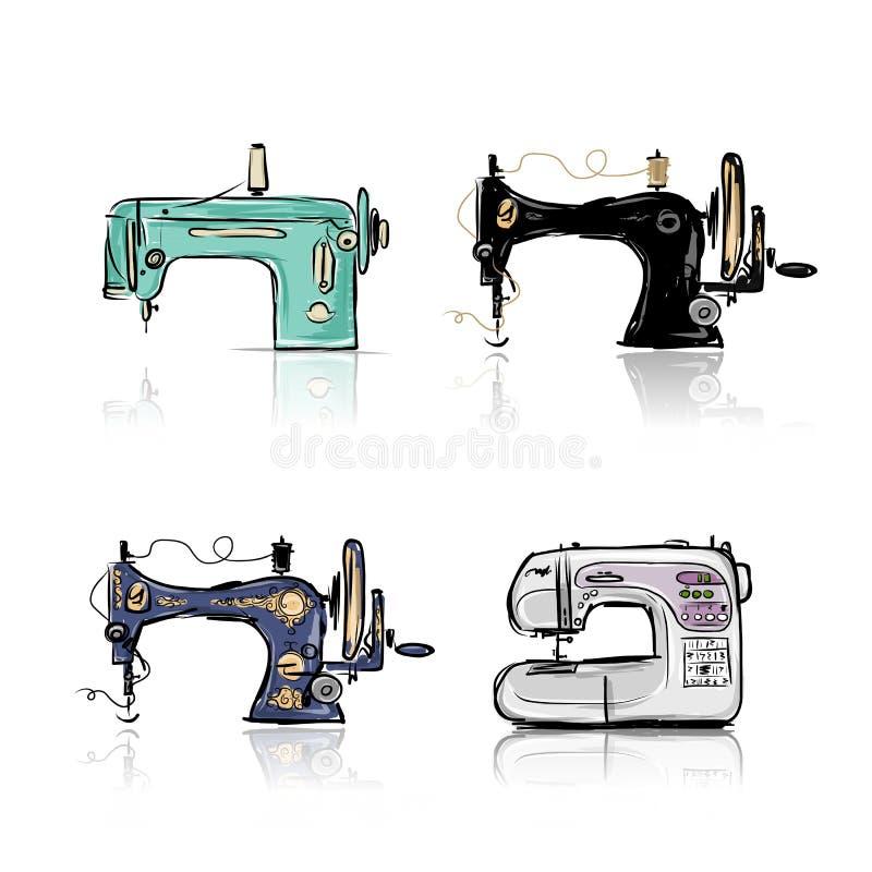 Raccolta di retro macchina per cucire, schizzo per royalty illustrazione gratis