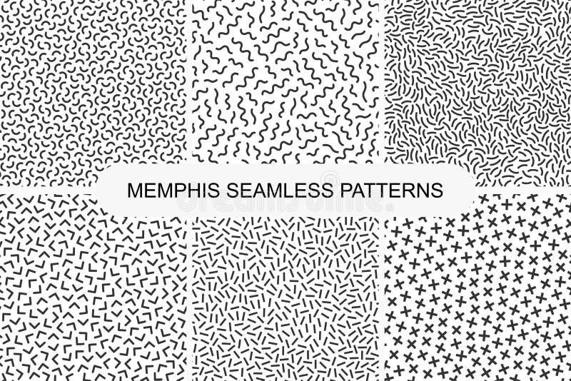 Raccolta di retro modelli senza cuciture di Memphis Progettazione 80-90s di modo illustrazione vettoriale