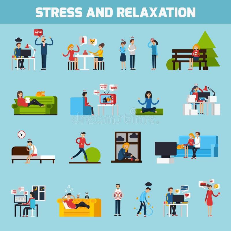 Raccolta di rilassamento e di sforzo illustrazione di stock