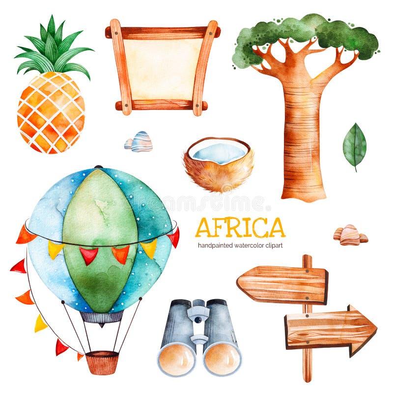 Raccolta di safari con l'ananas, binoculare, aerostato royalty illustrazione gratis