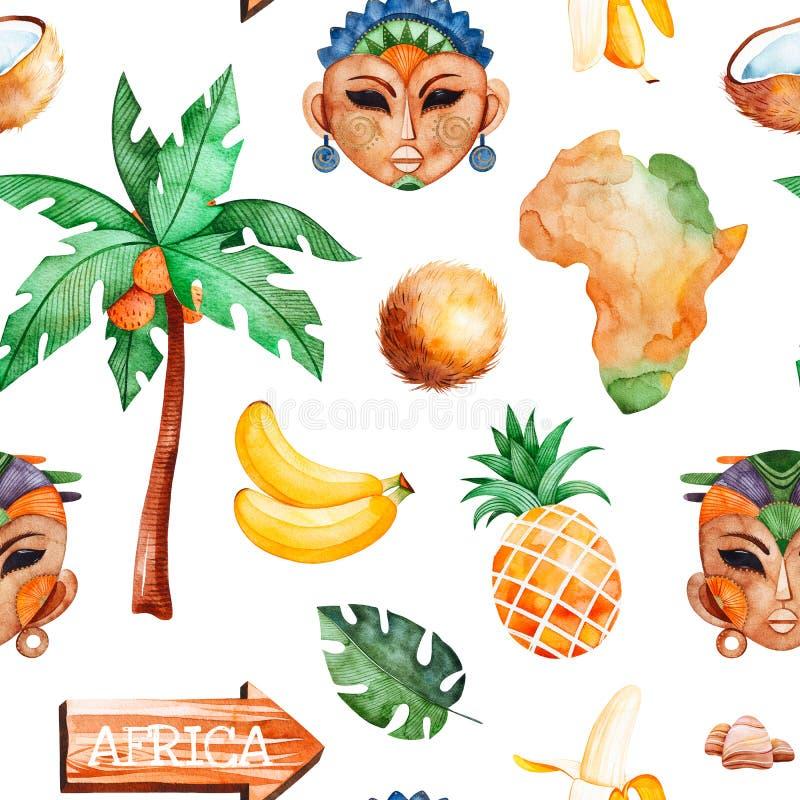 Raccolta di safari con la donna africana, maschere degli uomini, banana, ananas illustrazione di stock