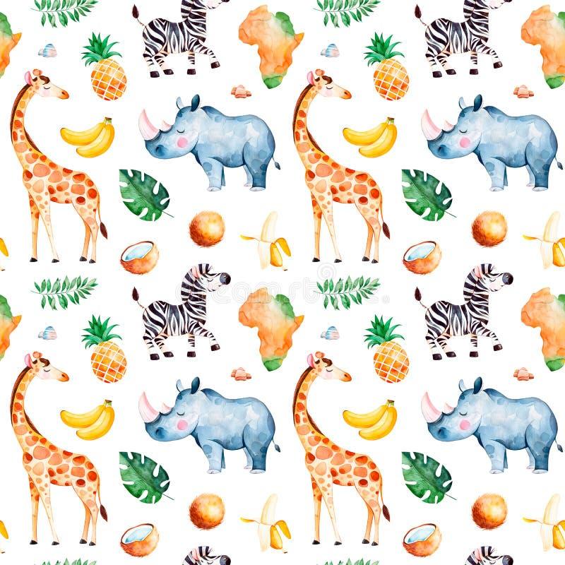 Raccolta di safari con la giraffa, rinoceronte, zebra illustrazione di stock