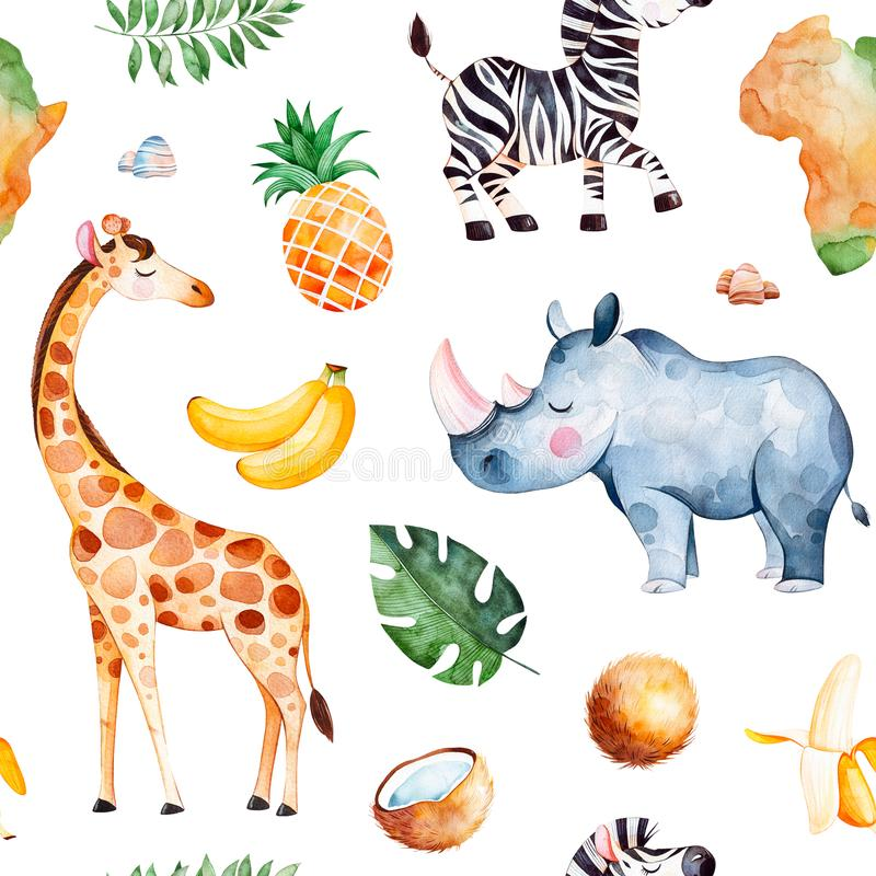 Raccolta di safari con la giraffa, rinoceronte, zebra, banana, ananas, noce di cocco, foglie di palma royalty illustrazione gratis