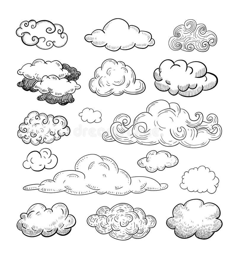 Raccolta di scarabocchio delle nuvole disegnate a mano di vettore illustrazione di stock