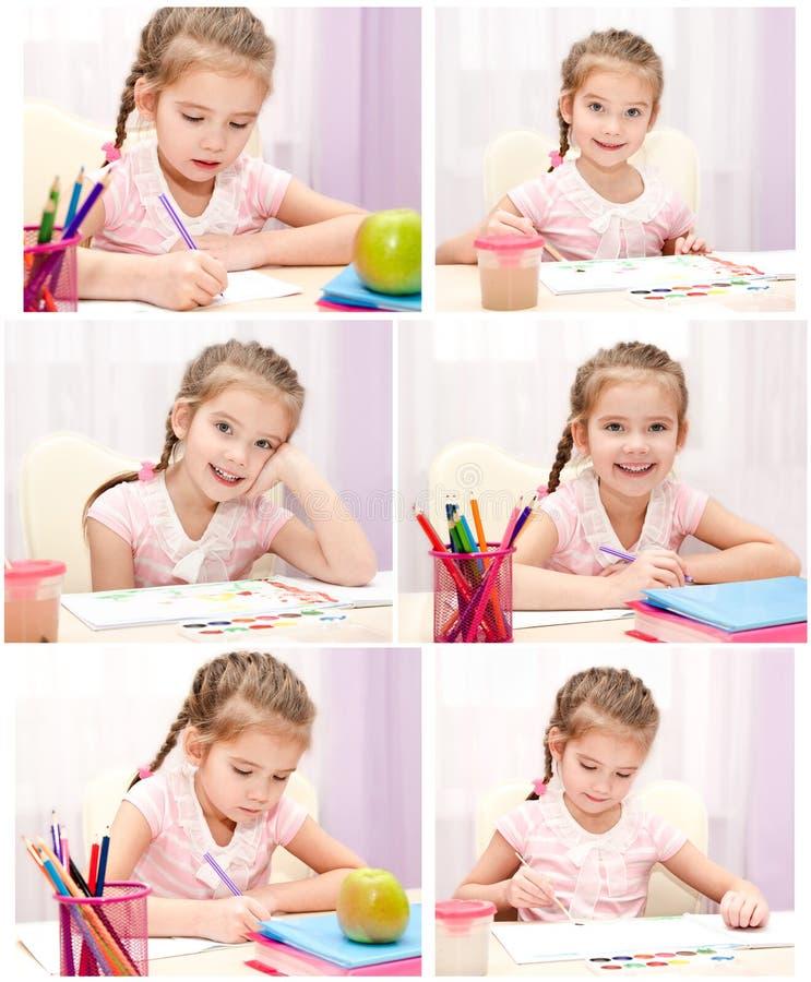 Raccolta di scrittura sveglia e del disegno della bambina delle foto immagini stock libere da diritti