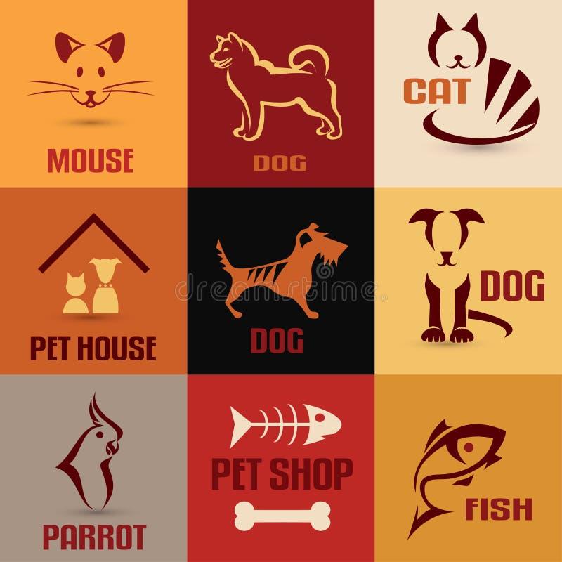 Raccolta di simbolo dell'animale domestico illustrazione di stock