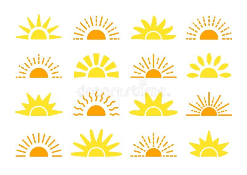 Raccolta di simbolo di tramonto & di alba Icone piane di vettore Segni di luce solare di mattina Oggetti isolati Aumento giallo d illustrazione di stock