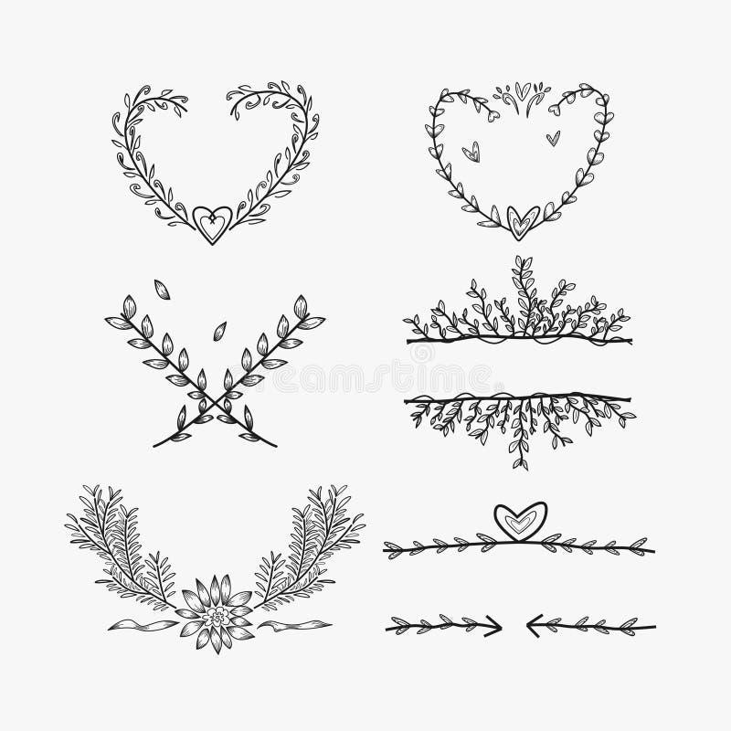 Raccolta di stile di arte di scarabocchio dell'elemento di nozze royalty illustrazione gratis