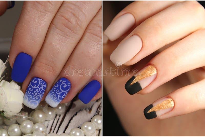Raccolta di vario manicure variopinto d'avanguardia con progettazione immagini stock libere da diritti