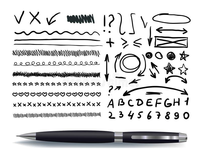Raccolta di vettore degli elementi disegnati a mano con la penna nera realistica, isolata illustrazione di stock