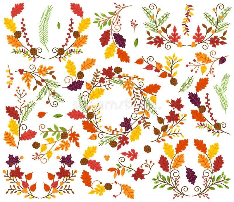 Raccolta di vettore degli elementi floreali di tema di ringraziamento e di autunno illustrazione vettoriale
