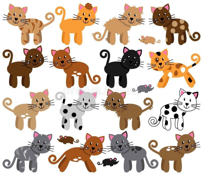 Raccolta di vettore dei gatti svegli ed allegri illustrazione di stock