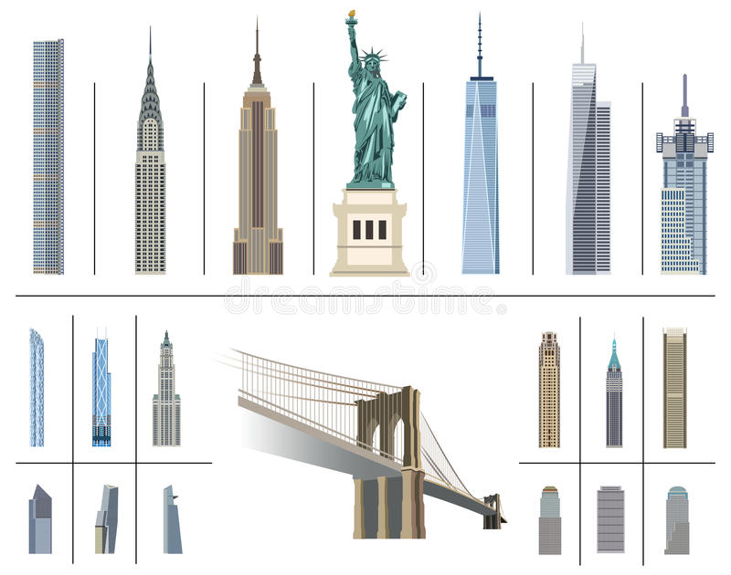 Raccolta di vettore dei punti di riferimento di New York City royalty illustrazione gratis