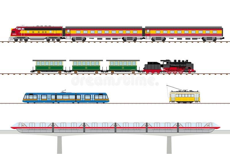 Raccolta di vettore dei tram e dei treni illustrazione vettoriale