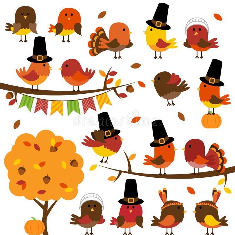 Raccolta di vettore del ringraziamento sveglio e di Autumn Birds illustrazione vettoriale