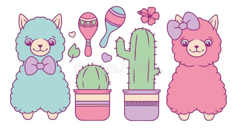 Raccolta di vettore della lama messa con il blu colorato pastello lanuginoso differente e gli animali svegli rosa, cactus, agitat royalty illustrazione gratis