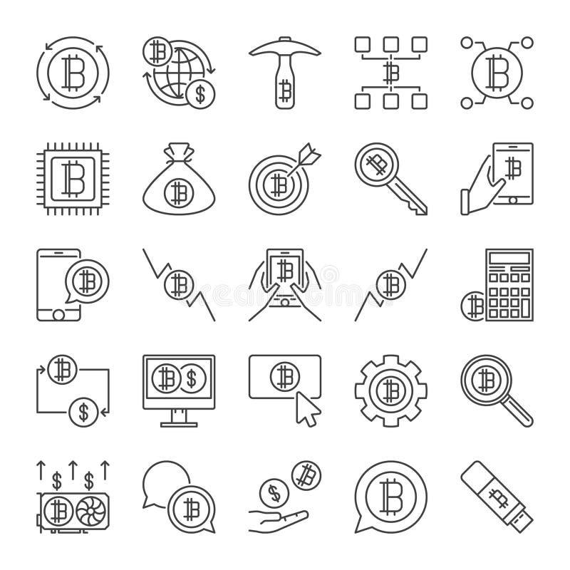 Raccolta di vettore delle icone di concetto di Blockchain nella linea stile sottile illustrazione vettoriale