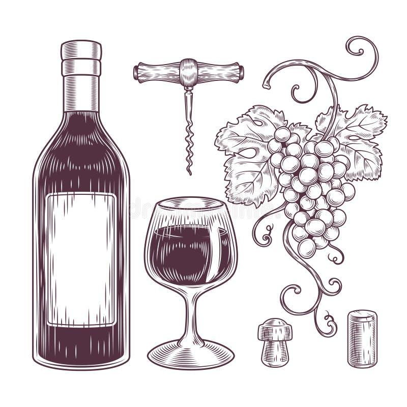 Raccolta di vettore delle icone del vino illustrazione vettoriale