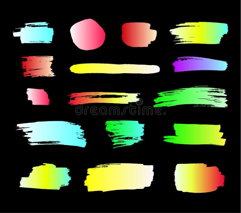 Raccolta di vettore delle sbavature al neon luminose della pittura, colpi della spazzola messi isolati royalty illustrazione gratis