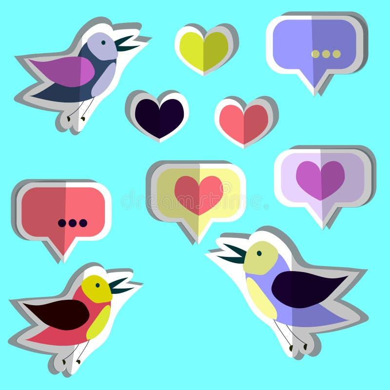 Raccolta di vettore, insieme degli uccelli svegli, cuori, autoadesivi Progettazione piana di carta illustrazione vettoriale
