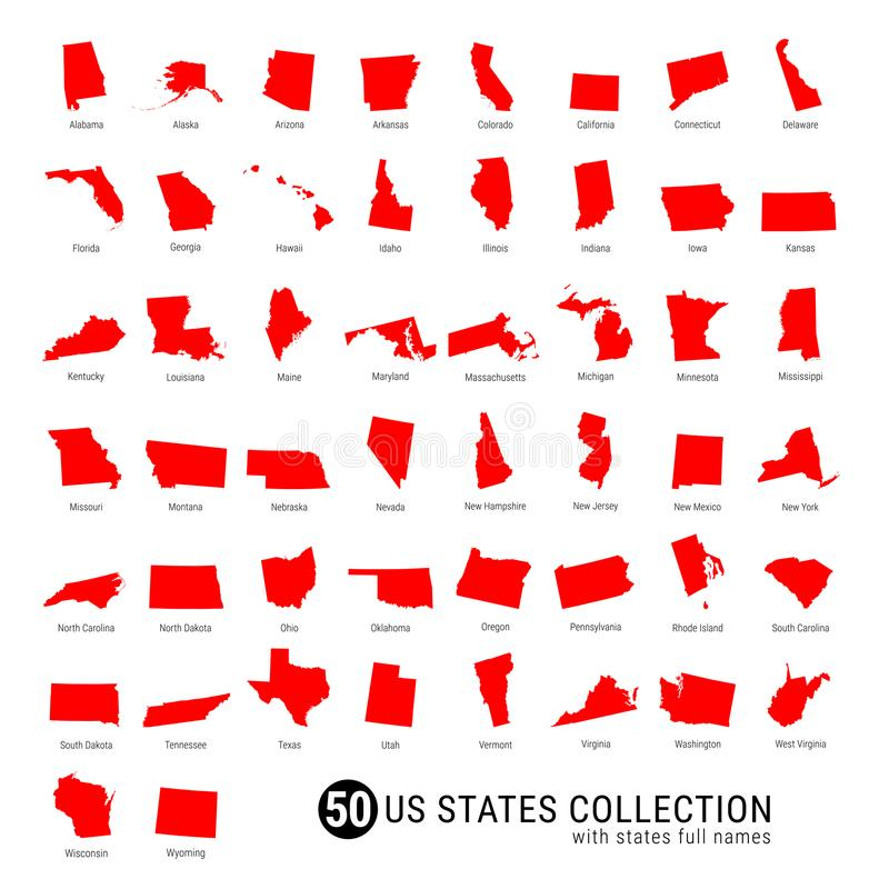Raccolta di vettore di 50 stati USA Mappe rosse Alto-dettagliate della siluetta di tutti e 50 i stati Stati USA con i nomi comple fotografie stock libere da diritti