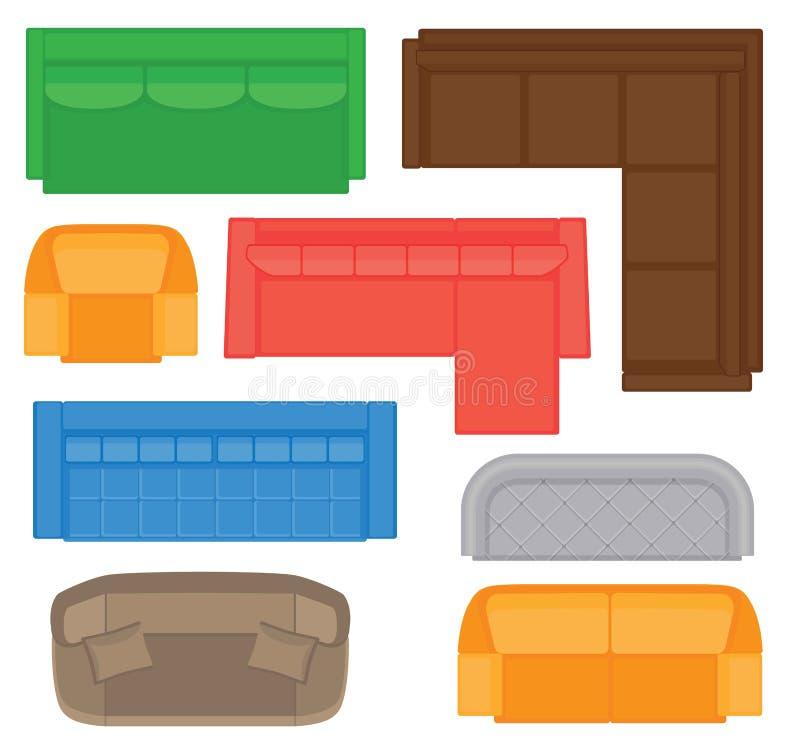 Raccolta di vista superiore della mobilia per interior design Insieme dei tipi differenti dei sofà per la pianta illustrazione di stock