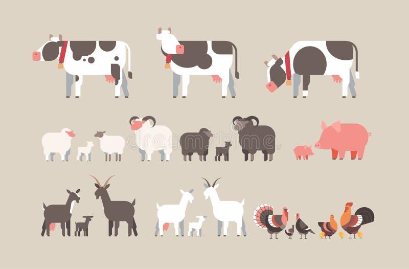Raccolta differente degli animali domestici dell'animale da allevamento della mucca della capra del maiale del tacchino delle pec illustrazione di stock