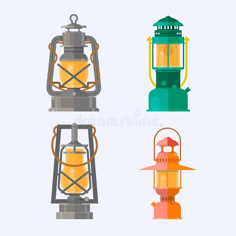 Raccolta differente della lampada a olio Retro lampade di gas con lo stoppino d'ardore del fuoco Lanterna di campeggio d'annata i illustrazione vettoriale