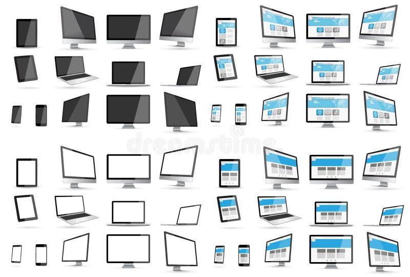 Raccolta digitale moderna del dispositivo di tecnologia royalty illustrazione gratis
