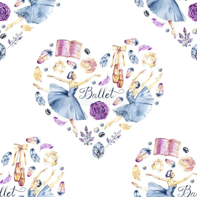 Raccolta dipinta a mano dell'acquerello con le ballerine, scarpe del pointe, accessori di balletto, fiori, piume, strutture, coro illustrazione vettoriale