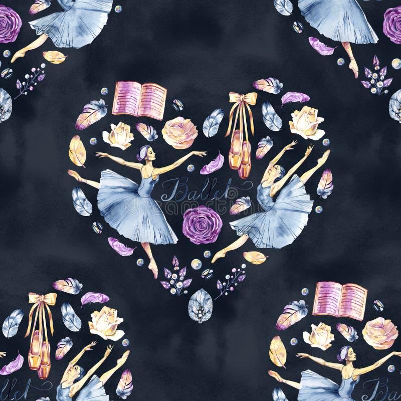 Raccolta dipinta a mano dell'acquerello con le ballerine, scarpe del pointe, accessori di balletto, fiori, piume, strutture, coro illustrazione di stock