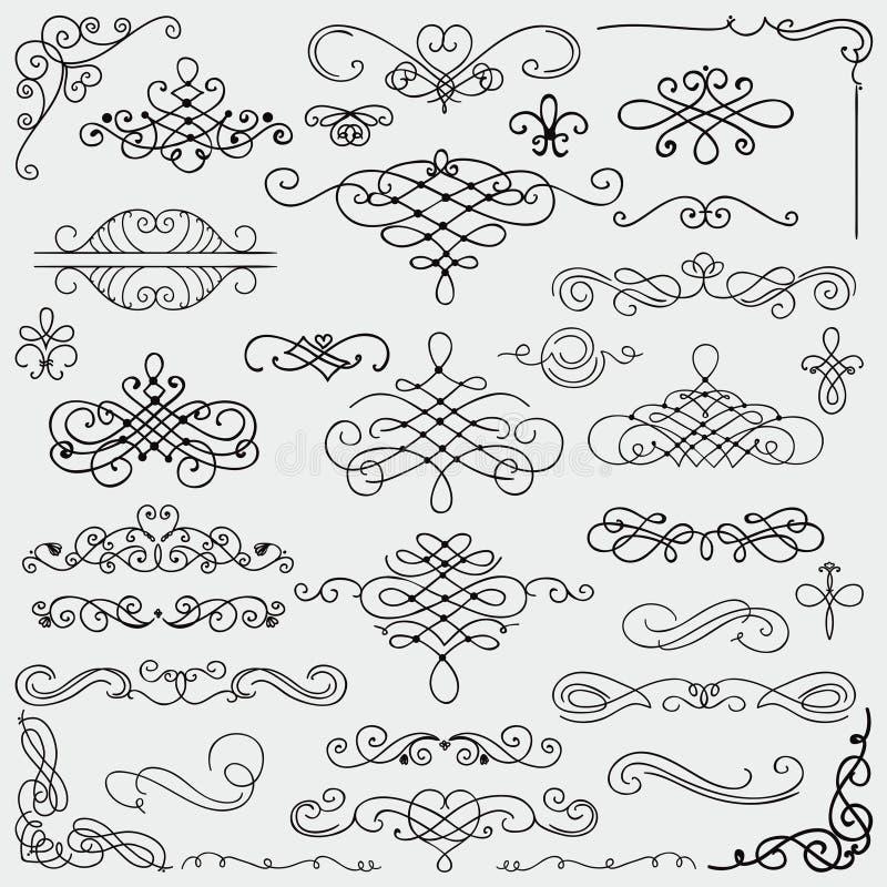 Raccolta disegnata a mano d'annata nera di turbinii di vettore royalty illustrazione gratis