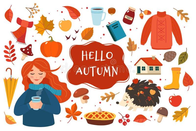 Raccolta disegnata a mano degli elementi di autunno con iscrizione sul fondo bianco Illustrazione sveglia di vettore nello stile  royalty illustrazione gratis