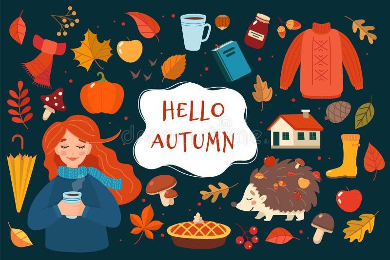 Raccolta disegnata a mano degli elementi di autunno con iscrizione sul fondo scuro Illustrazione sveglia di vettore nello stile p royalty illustrazione gratis