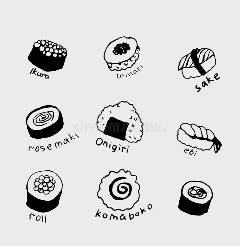 Raccolta disegnata a mano dell'alimento giapponese differente Linea insieme di arte dell'alimento royalty illustrazione gratis