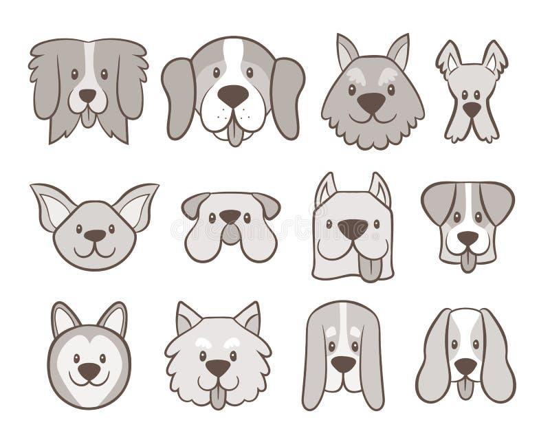 Raccolta disegnata a mano dell'avatar del cane illustrazione di stock