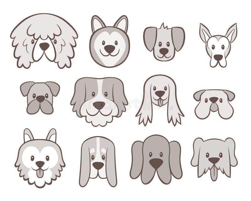 Raccolta disegnata a mano dell'avatar del cane illustrazione vettoriale