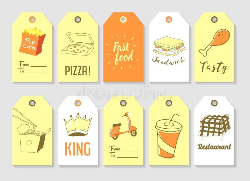Raccolta disegnata a mano delle etichette degli alimenti a rapida preparazione Elementi a mano libera di stile d'annata con il pa illustrazione vettoriale