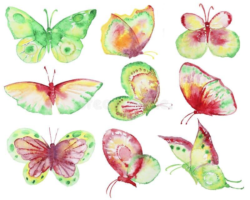 Raccolta disegnata a mano delle farfalle illustrazione vettoriale