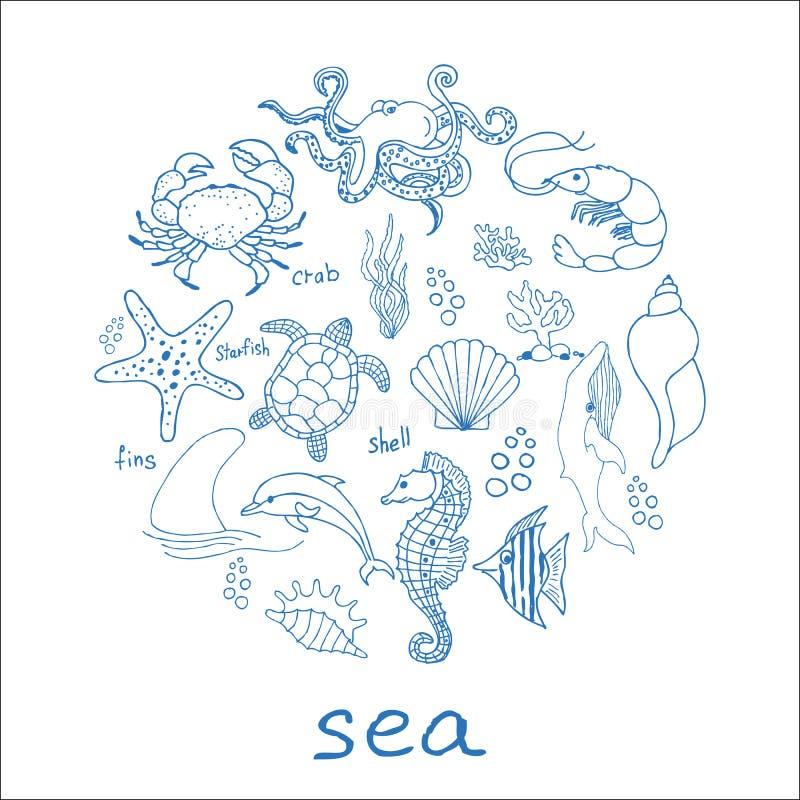 Raccolta disegnata a mano delle icone di scarabocchio del mare su fondo bianco Illustrazione di vettore royalty illustrazione gratis