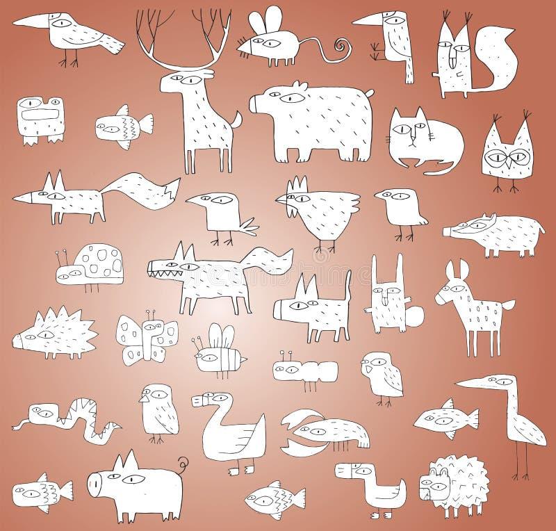 Raccolta divertente degli animali in bianco e nero, con i profili