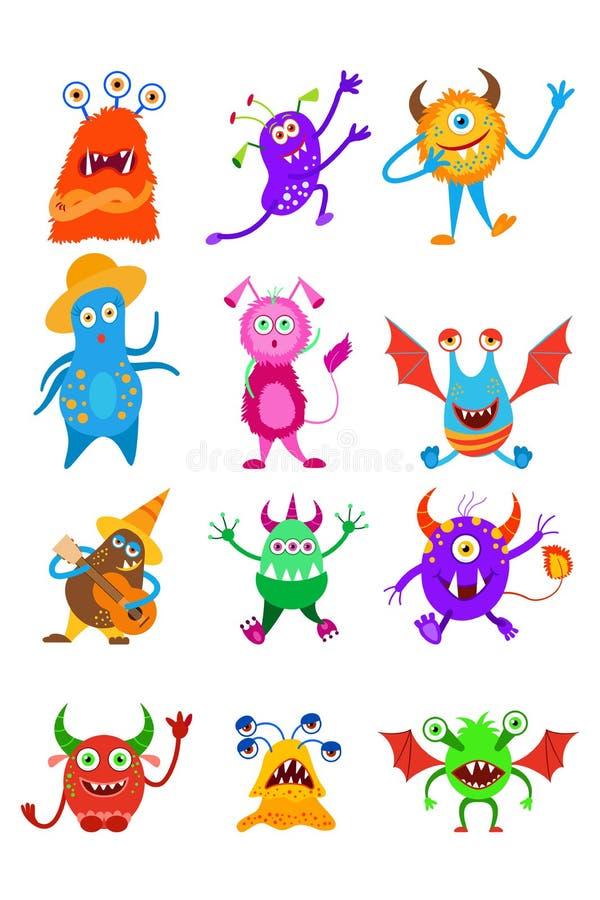 Raccolta divertente del mostro di fantasia Insieme leggiadramente del mostro illustrazione di stock